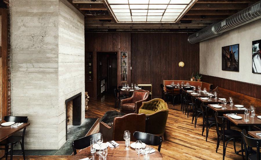 Restaurant interior design area with sofas