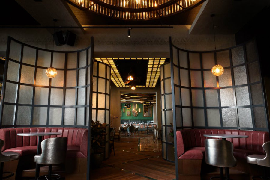 Restaurant interior decor with a leather dining seating