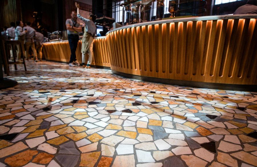 Milan Starbucks coffee shop floor